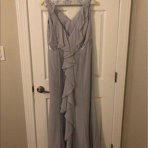 gray bridesmaid dress.